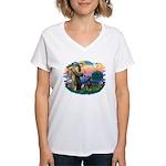 St Francis #2/ Doberman Women's V-Neck T-Shirt