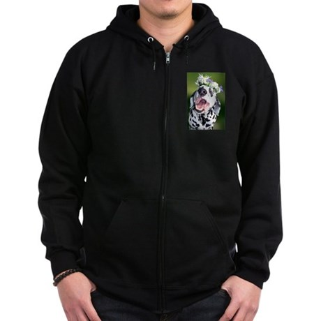 Smiling Dalmatian Dog Zip Hoodie (dark)