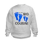 Big Cousin Baby Footprints Kids Sweatshirt