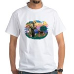 St Francis #2/ Airedale White T-Shirt