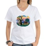 St Francis #2/ Airedale Women's V-Neck T-Shirt