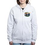 St Francis #2/ Boxer (nat ears) Women's Zip Hoodie