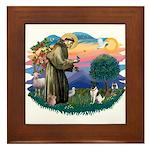 St Francis #2/ Fox Terrier Framed Tile