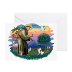 St Francis #2/ Fox Terrier Greeting Cards (Pk of 2