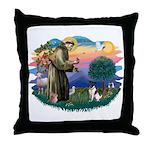 St Francis #2/ Fox Terrier Throw Pillow