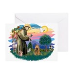 St Francis #2/ Cocker (brn) Greeting Cards (Pk of