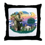 St Francis #2/ Eng Bulldog Throw Pillow