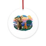 St Francis #2/ Poodle (Std-Ap) Ornament (Round)