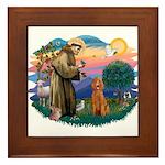 St Francis #2/ Poodle (Std-Ap) Framed Tile