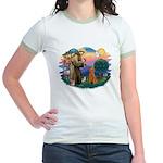 St Francis #2/ Poodle (Std-Ap) Jr. Ringer T-Shirt