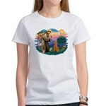 St Francis #2/ Poodle (Std-Ap) Women's T-Shirt