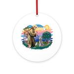 St Francis #2/ Poodle (Std S) Ornament (Round)