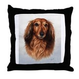 Dachshund Red Longhair 1 Throw Pillow