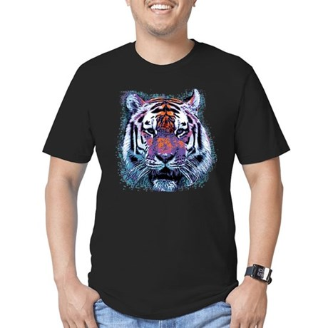 Retro Tiger Mens Fitted Dark T-Shirt