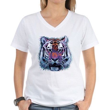 Retro Tiger Womens V-Neck T-Shirt