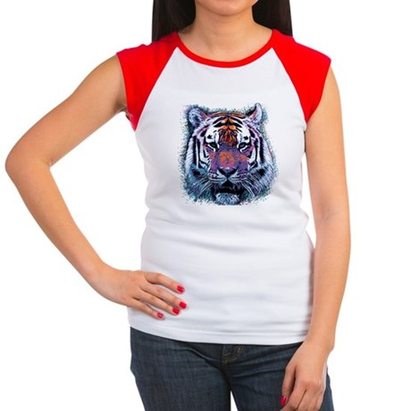 Retro Tiger Womens Cap Sleeve T-Shirt