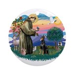 St Francis #2/ Dobie (cropped) Ornament (Round)