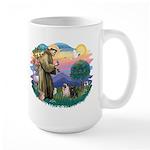 St Francis #2/ Pugs (blk&f) Large Mug