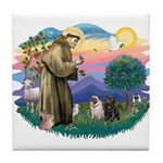 St Francis #2/ Pugs (blk&f) Tile Coaster