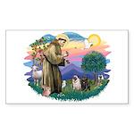 St Francis #2/ Pugs (blk&f) Sticker (Rectangle)