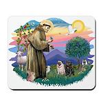 St Francis #2/ Pugs (blk&f) Mousepad