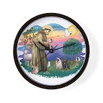 St Francis #2/ Pugs (blk&f) Wall Clock