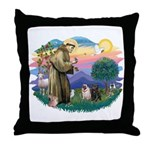 St Francis #2/ Pugs (blk&f) Throw Pillow