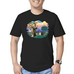St Francis #2/ Pugs (blk&f) Men's Fitted T-Shirt (