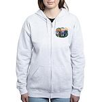 St Francis #2/ Pugs (blk&f) Women's Zip Hoodie