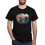 St Francis #2/ Pugs (blk&f) Dark T-Shirt