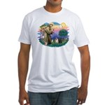 St Francis #2/ Pugs (blk&f) Fitted T-Shirt