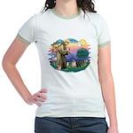 St Francis #2/ Pugs (blk&f) Jr. Ringer T-Shirt