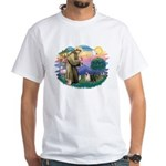 St Francis #2/ Pugs (blk&f) White T-Shirt