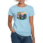 St Francis #2/ Pugs (blk&f) Women's Light T-Shirt