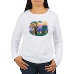 St Francis #2/ Pugs (blk&f) Women's Long Sleeve T-
