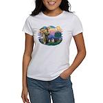 St Francis #2/ Pugs (blk&f) Women's T-Shirt