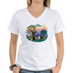 St Francis #2/ Pugs (blk&f) Women's V-Neck T-Shirt