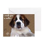St Bernard Puppy Cookie Greeting Card