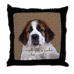 St Bernard Puppy Cookie Throw Pillow