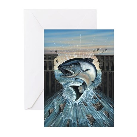 Salmon Breaks through DamGreeting Cards (Pk of 10)