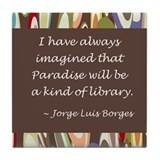 Paradise the Library Tile Coaster