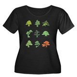 Bonsai Trees Women's Plus Size Scoop Neck Dark T-S