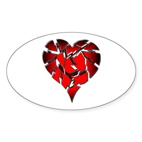 Broken Heart Oval Sticker