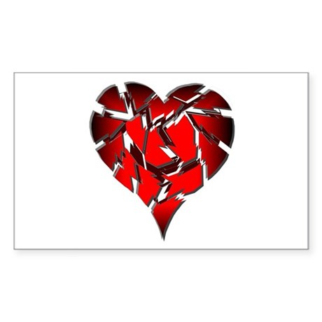 Broken Heart Rectangle Sticker