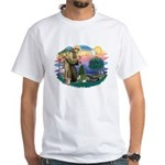 St Francis #2/ Tibetan Span White T-Shirt