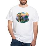St Francis #2/ Tibetan Span White T-Shirt