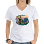 St Francis #2/ Tibetan Span Women's V-Neck T-Shirt