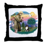 St Francis #2/ Sheltie (tri) Throw Pillow