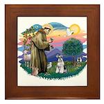 St Francis #2/ Schnauzer #2 Framed Tile