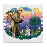 St Francis #2/ Schnauzer #2 Tile Coaster